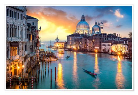 Grand Canal At Sunset In Venice Italy Poster Posters And
