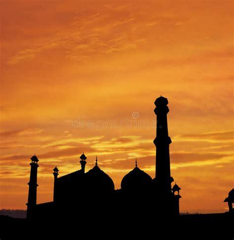 delhi mosque twilight stock image image  arab design