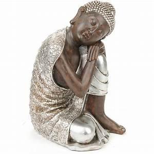 Statue Bouddha Interieur : statue sculpture bouddha coloris argent ~ Teatrodelosmanantiales.com Idées de Décoration