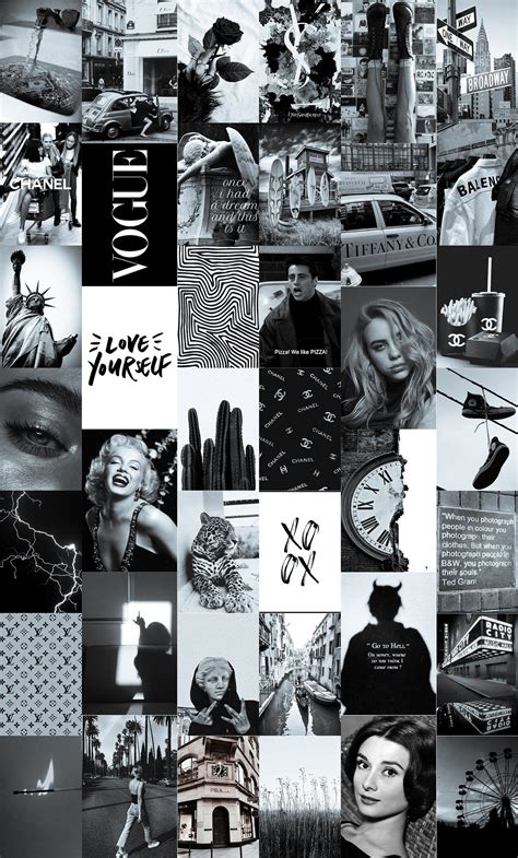 soft black and white wall collage kit vintage black photo