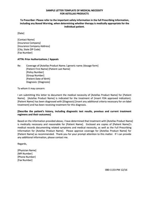 sample letter template  medical necessity  astellas