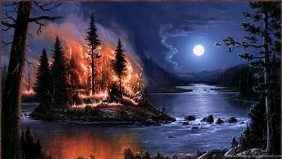 Fire Wallpapers 1080p Forest Moon Desktop Night