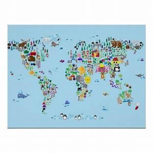Weltkarte Poster Kinder : poster weltkarte f r kinder als welt der tiere von ~ Yasmunasinghe.com Haus und Dekorationen