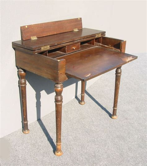 fold out table top rustic antique folding top writing desk w pull out table