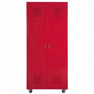 metal locker closet on castors in red w 85cm loft With maison du monde armoire
