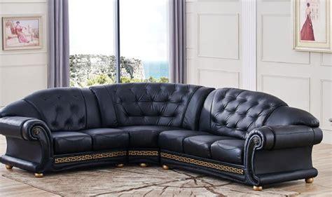 Esf Apolo Sectional Black Genuine Top Grain Italian Leather Sectional Sofa Lhc