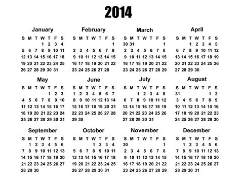 2014 Year Calendar Template by 2014 Calendar Template Free Stock Photo Domain