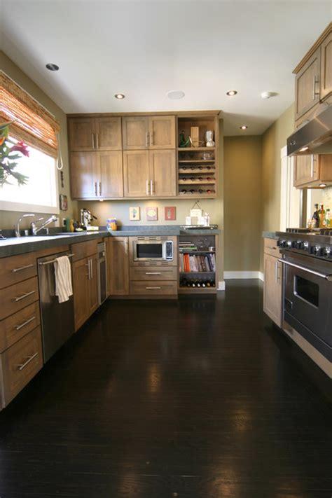 kitchens with black floors brown hardwood floors 6604