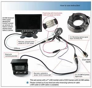 7 Inch Lcd Monitor 12v  24v 4pin Ir Ccd Reversing Camera
