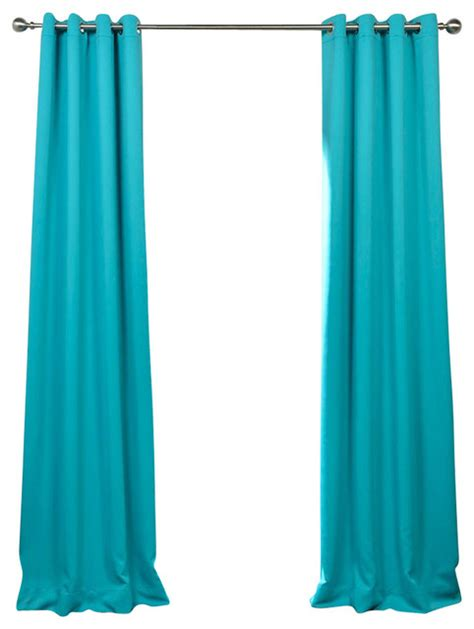 turquoise blue grommet blackout curtain single panel