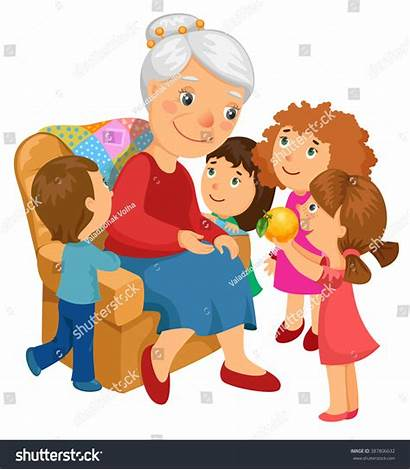 Grandmother Visit Grandchildren Clipart Sitting Chair Came
