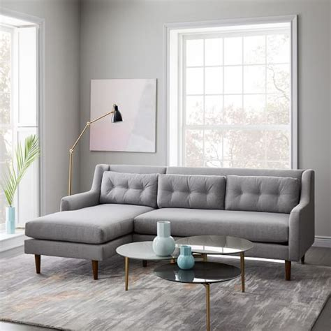 west elm crosby crosby mid century 2 piece chaise sectional west elm