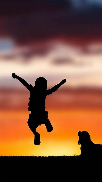 Happy Child Silhouette Sunset 4k Iphone Wallpapers