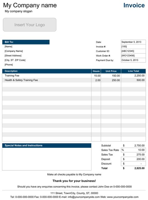 professional invoice template excel invoice