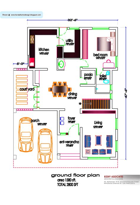 south indian house plan  sq ft kerala home design  floor plans  houses