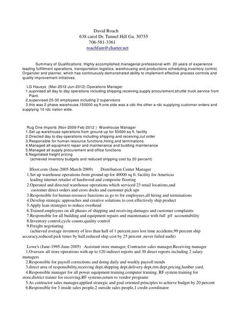 david roach distribution manager resume