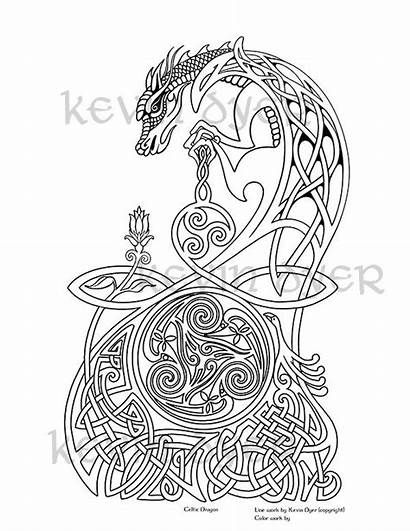Coloring Celtic Pages Adult Dragon Fantasy Irish
