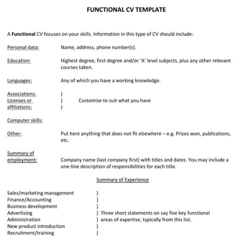 Functional Cv by Functional Cv Template For Free Formtemplate