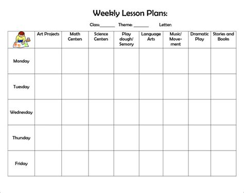 weekly lesson plan template word 8 weekly lesson plan sles sle templates