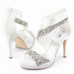 Shoezy luxurious new womens satin crystal wedding dress for Womens dress shoes for wedding