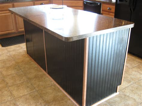 Black Beadboard Paneling :  Kitchen Island Makeover