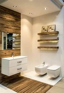 salle de bain beige et bois maison design bahbecom With carrelage adhesif salle de bain avec spot led encastrable sol