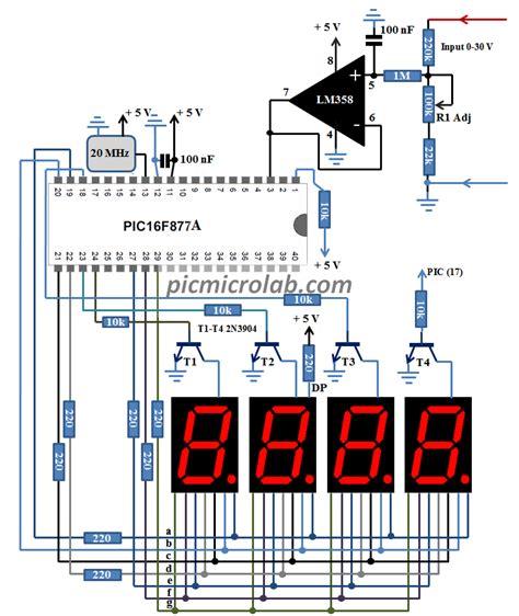 10bit 7 segment digital voltmeter 0 24v