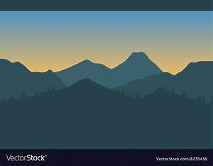 Silhouette of hills with gray background Vector Image