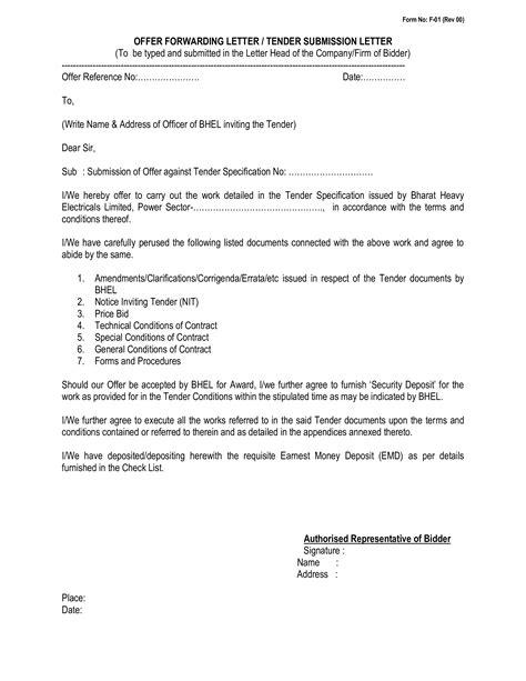 bid and offer free informal tender offer letter templates at