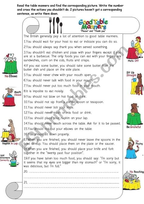 good table manners worksheet 8th good table manners table manners vocabulary worksheets