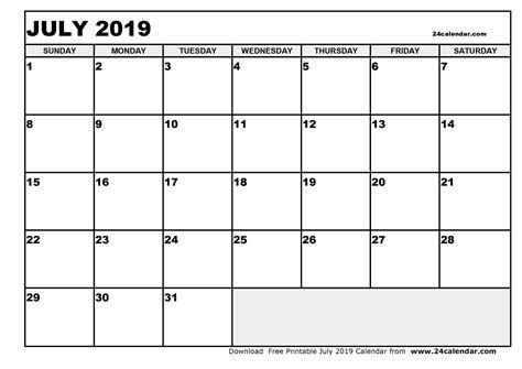 blank july calendar printable format
