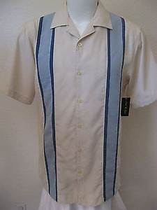 new 50s rockabilly retro bowling shirt xl beige blue panel