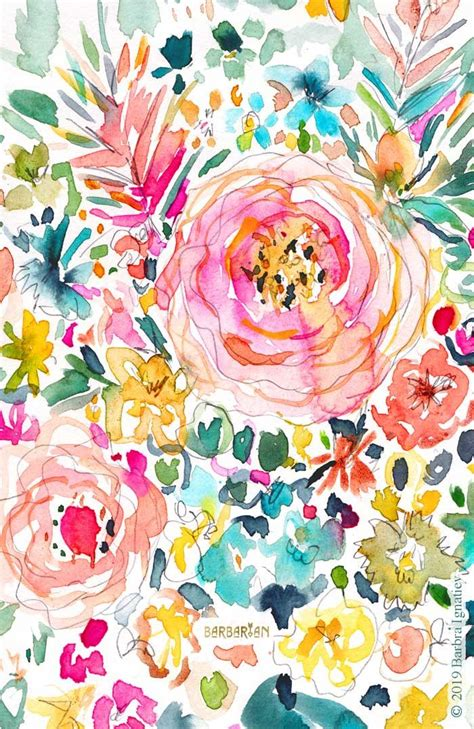 Hd wallpaper 4k wallpaper wallpaper art wallpaper. DON'T STRESS Colorful Floral · BARBARIAN | Flower phone wallpaper, Flower art, Watercolor pattern