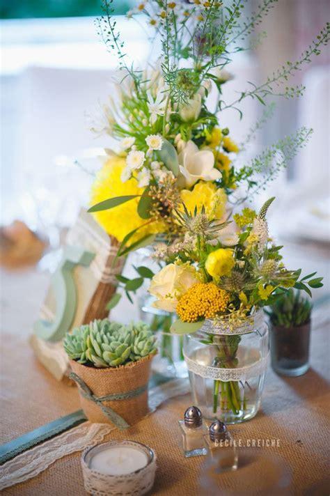 mariage en jaune  vert au manoir de tourville deco