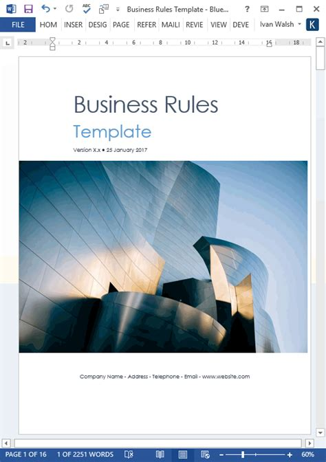 business rules templates ms wordexcel