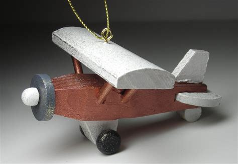 airplane christmas tree ornament copper high wing airplane