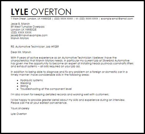 automotive technician cover letter sle livecareer