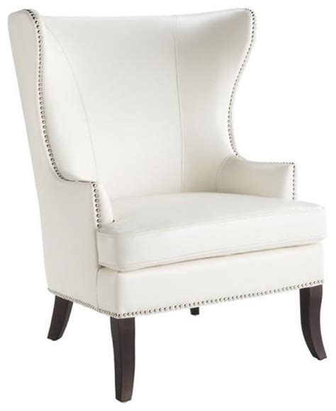 Leather Wing Chair With Nailhead, Ivory Transitional