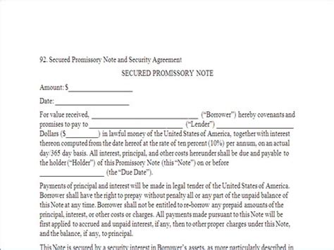 Secured Promissory Note Template Free by Secured Promissory Note And Security Agreement