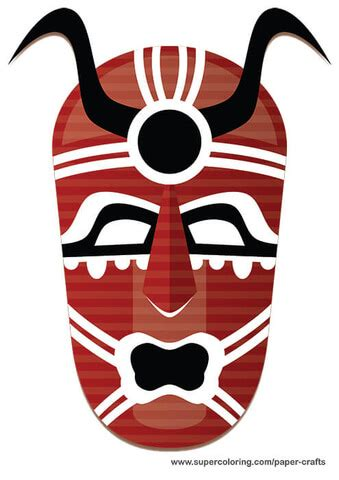 tribal mask paper template  printable papercraft templates