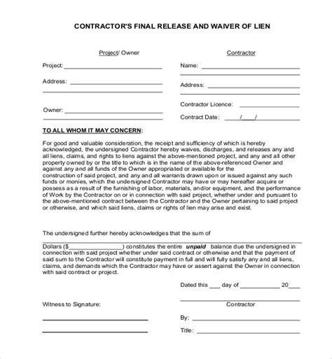 lien release letter 11 sle lien release forms sle forms
