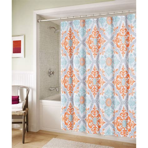blue and orange marcone shower curtain at home