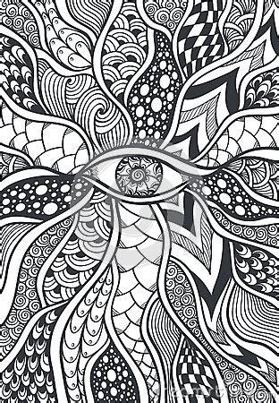 zen doodle  zen tangle texture  pattern  eye black  white stock vector image