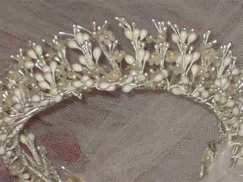 Vintage C 30s Round Wax Wedding Tiara Crown And Veil W
