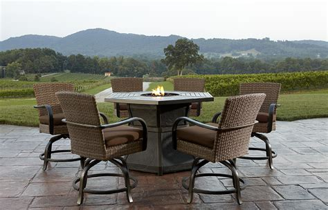 patio furniture fire pit table set agio corseca 7 piece bar set with firepit table 1584 99