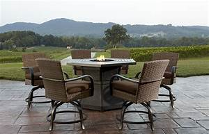 Agio corseca 7 piece bar set with firepit table 158499 for Outdoor patio fire pit sets