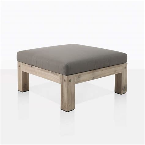 lodge rustic outdoor distressed teak ottoman design