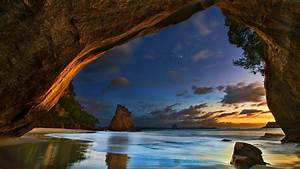 Wallpaper, Cathedral, Caves, New, Zealand, Sea, Clouds, Dusk