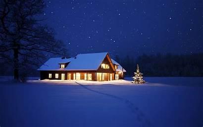 Snow Winter Cabin Night Nature Desktop Backgrounds