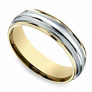 Two toned sectional men39s wedding ring in white yellow gold for White and yellow gold mens wedding rings